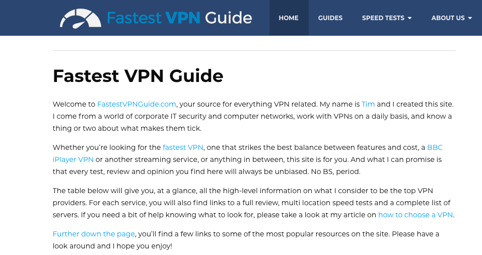 fastest vpn guide