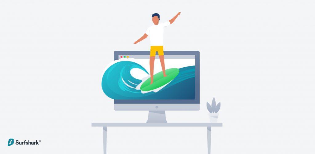 Surfshark Man surfing web on monitor graphic