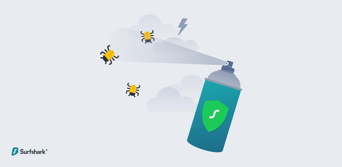 Surfshark Malware spray can graphic