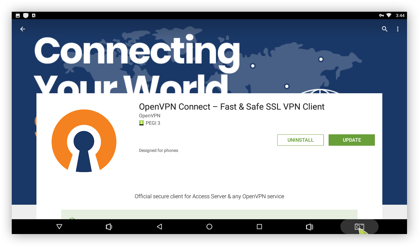 Install the OpenVPN Connect client from Google play
