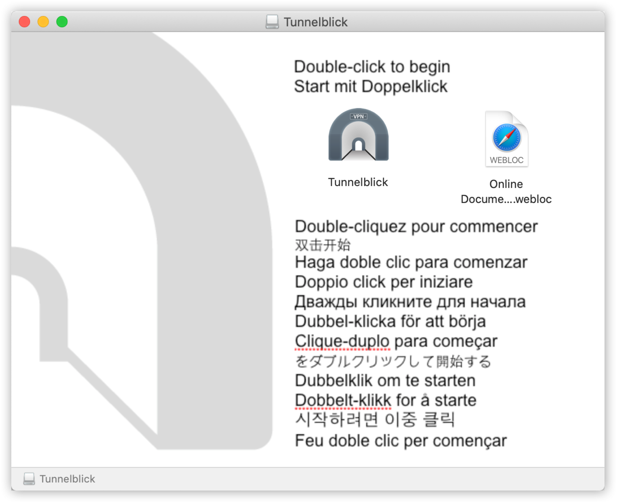 start the installation on Tunnelblick
