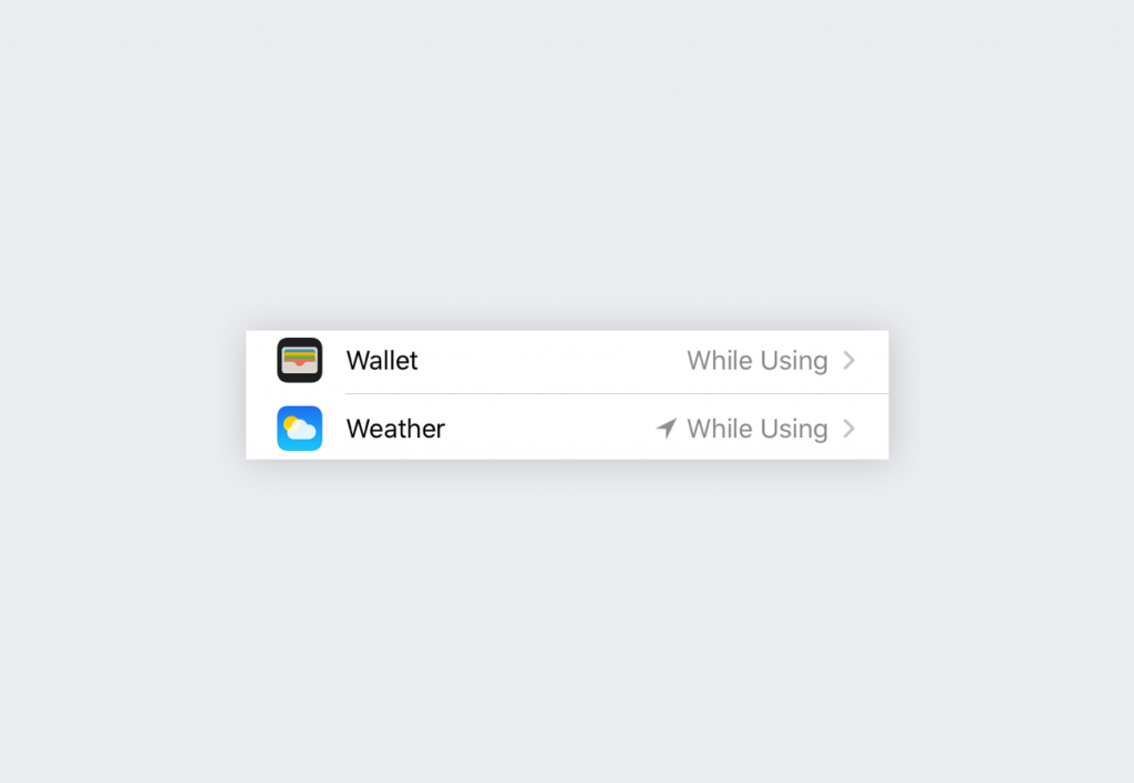 Wallet and Weather apps using location