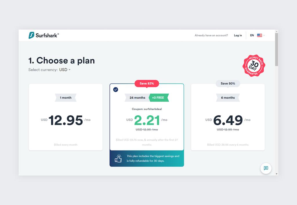 Choose a VPN plan